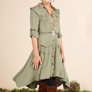 Matilda Jane Olive Ruffle Button Down Shirt Dress